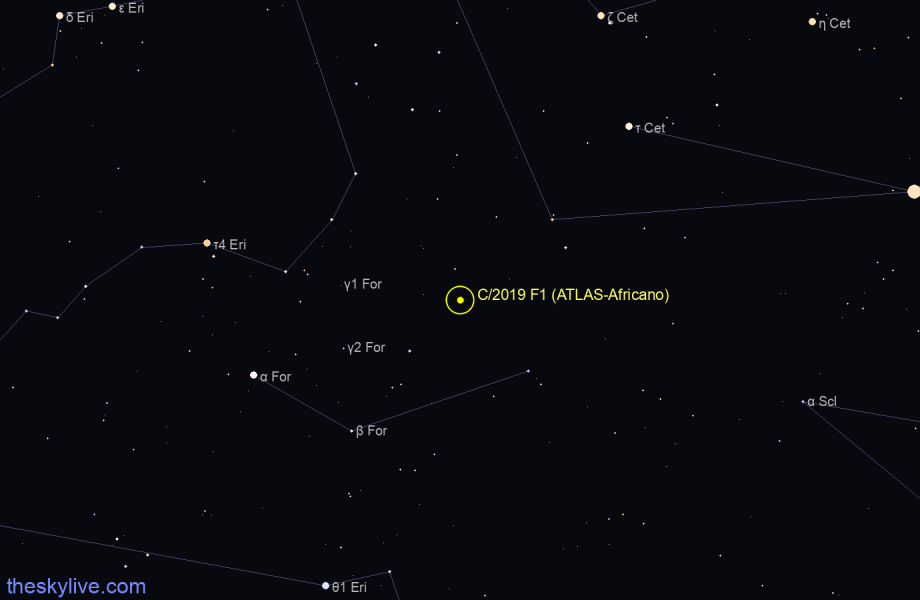 Finder chart of C/2019 F1 (ATLAS-Africano) in Octans on May,08 2021