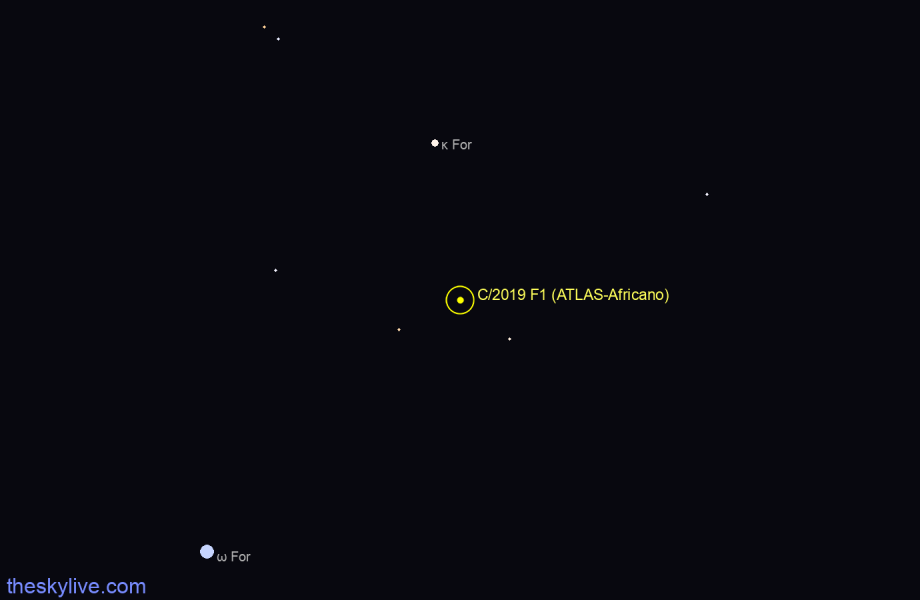 Finder chart of C/2019 F1 (ATLAS-Africano)