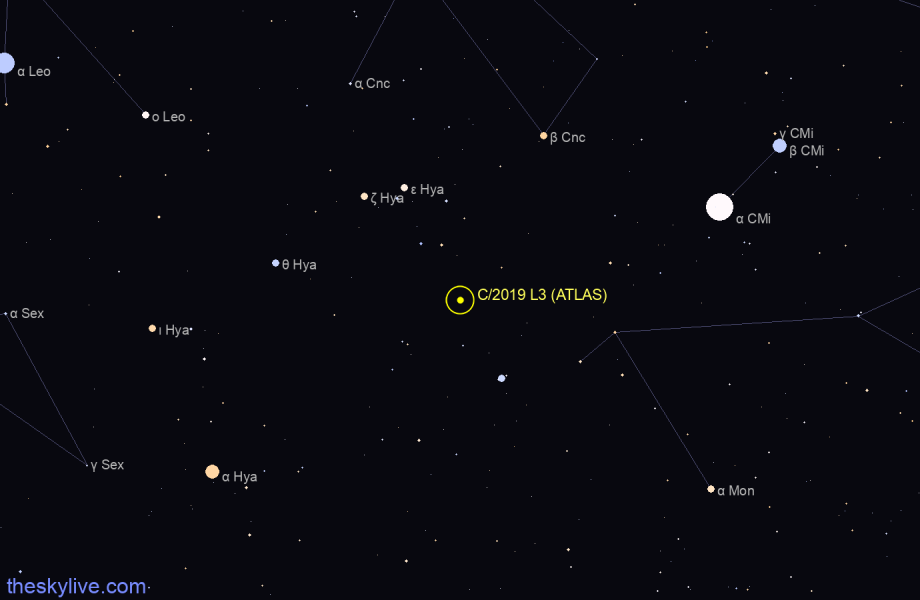 Map of C/2019 L3 (ATLAS) in Andromeda on March,28 2020