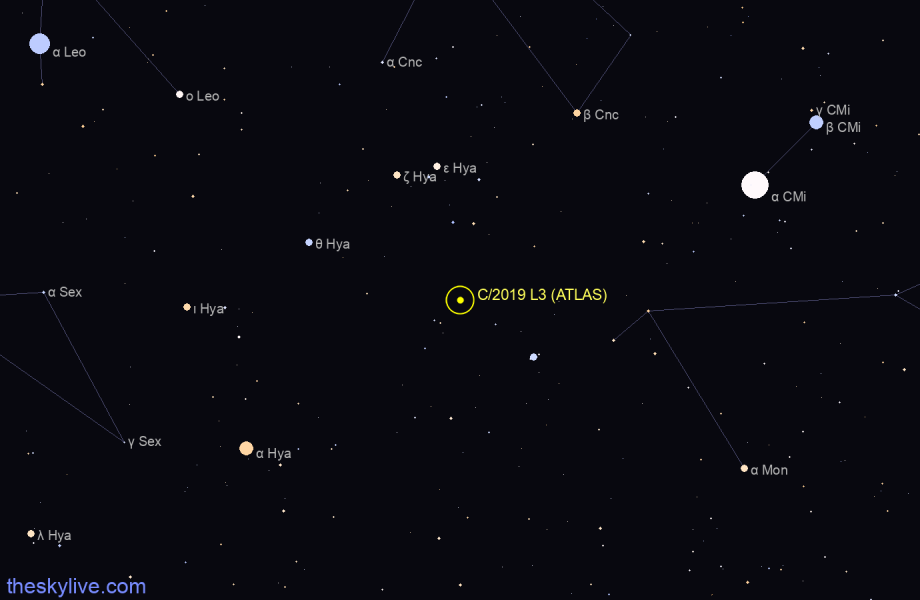 Finder chart of C/2019 L3 (ATLAS) in Cassiopeia on October,27 2020