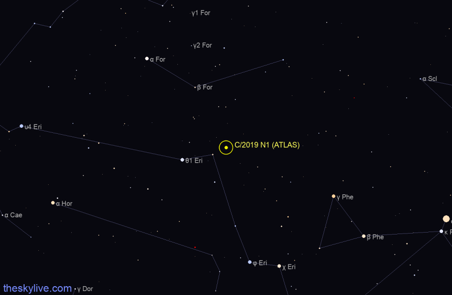 Finder chart of C/2019 N1 (ATLAS) in Coma on August,15 2020