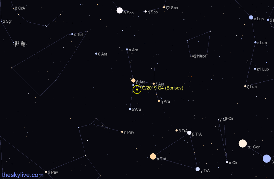 Finder chart of C/2019 Q4 (Borisov) in Norma on October,23 2020