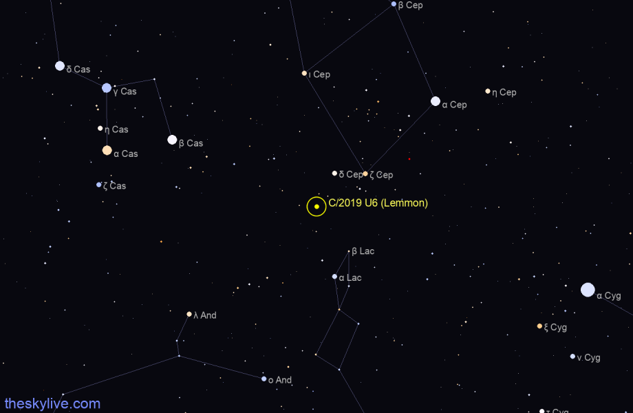 Finder chart of C/2019 U6 (Lemmon) in Vulpecula on January,18 2021