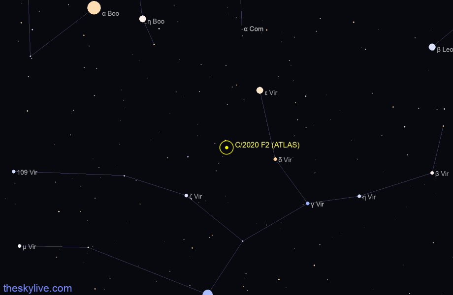 Finder chart of C/2020 F2 (ATLAS) in Libra on May,28 2020