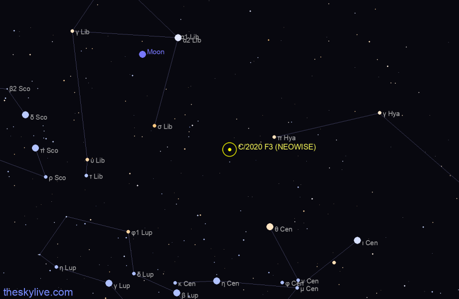 Finder chart of C/2020 F3 (NEOWISE) in Libra on October,22 2020