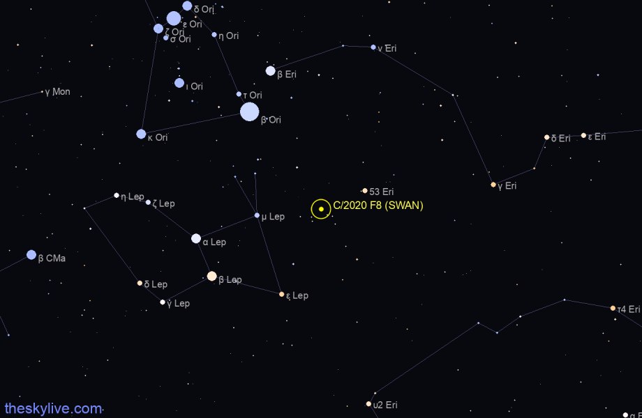 Finder chart of C/2020 F8 (SWAN) in Orion on October,27 2020