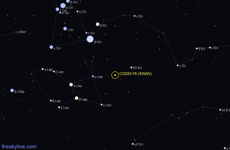 Finder chart of C/2020 F8 (SWAN) in Eridanus on January,25 2021