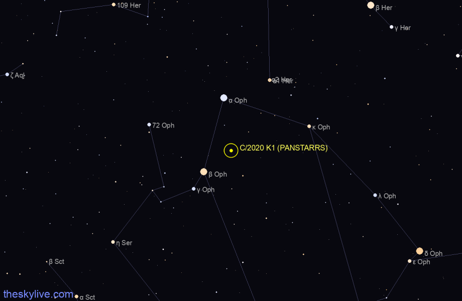 Finder chart of C/2020 K1 (PANSTARRS) in Lyra on May,08 2021