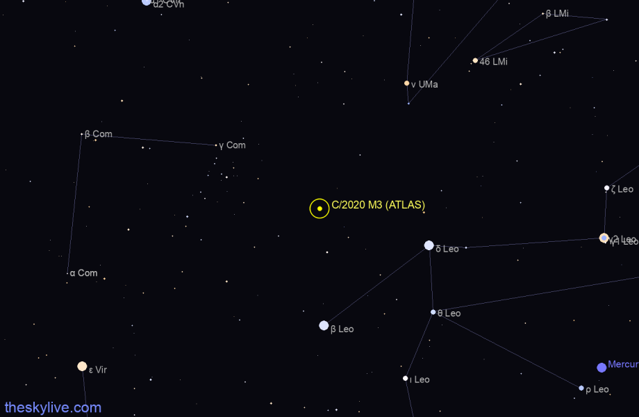Finder chart of C/2020 M3 (ATLAS) in Auriga on January,21 2021