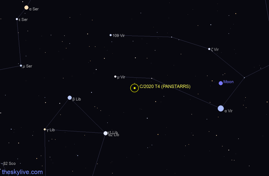 Finder chart of C/2020 T4 (PANSTARRS) in Andromeda on March,05 2021