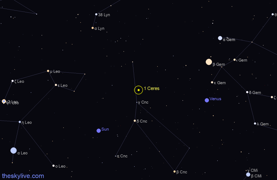 Map of 1 Ceres in Scorpius on August,23 2019