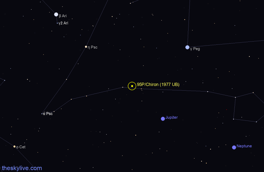 Map of 95P/Chiron (1977 UB) in Pisces on October,21 2019