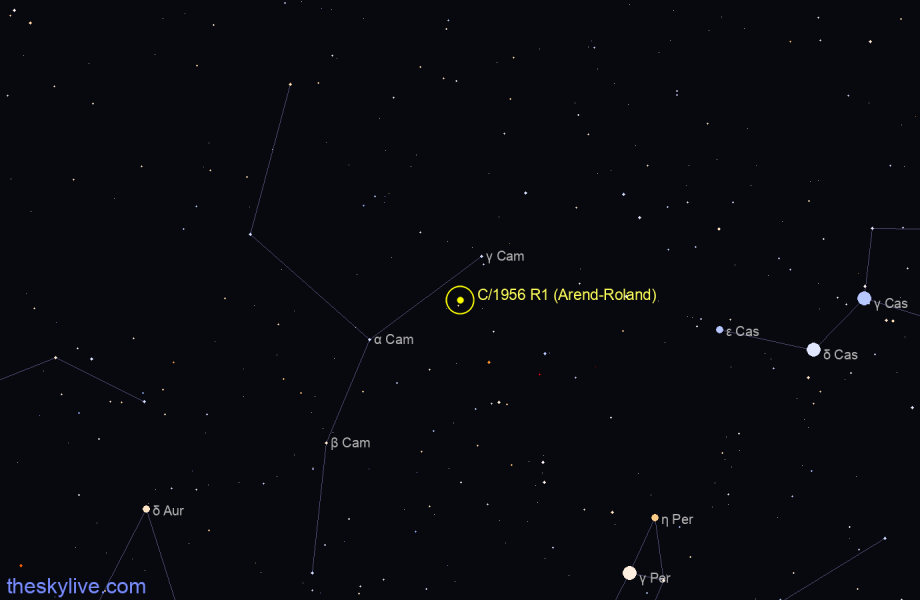 Finder chart of C/1956 R1 (Arend-Roland) in Camelopardalis on October,27 2020