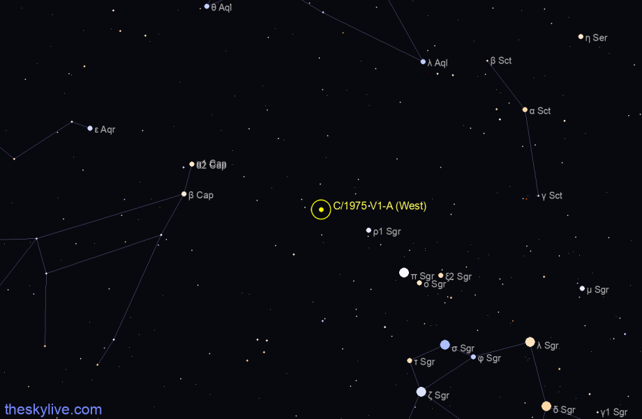 Finder chart of C/1975 V1-A (West) in Sagittarius on October,25 2020