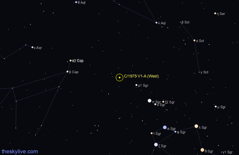 Finder chart of C/1975 V1-A (West) in Sagittarius on February,25 2021