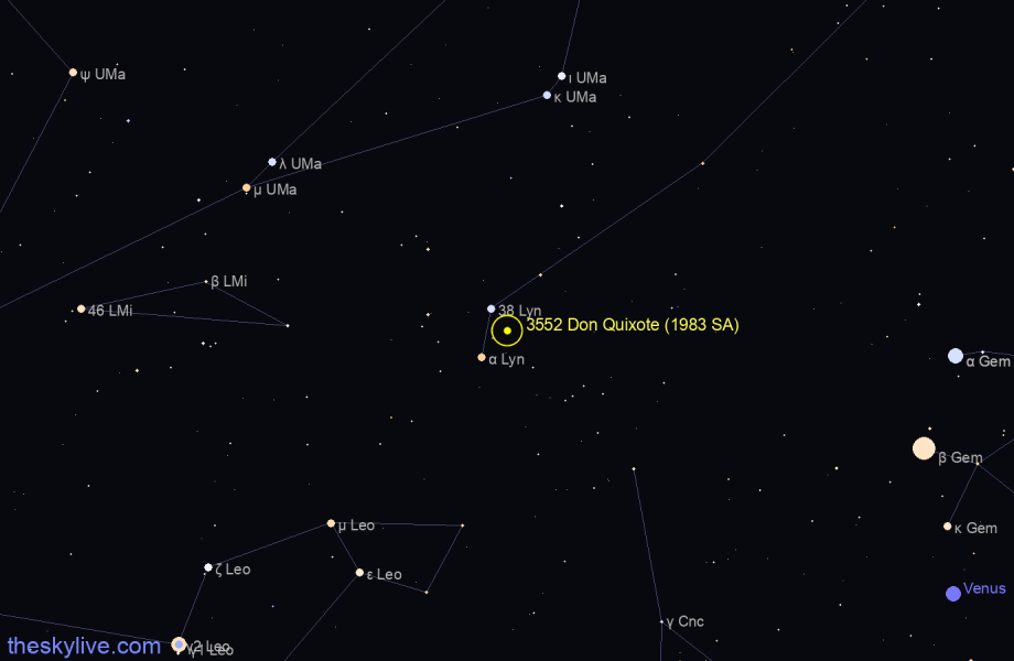 Finder chart of 3552 Don Quixote (1983 SA) in Ursa Major on October,22 2020