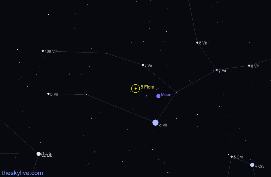 Finder chart of 8 Flora in Aries on January,26 2021