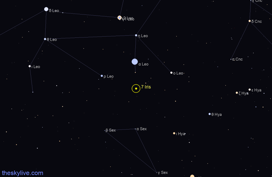 Finder chart of 7 Iris in Sagittarius on October,22 2020