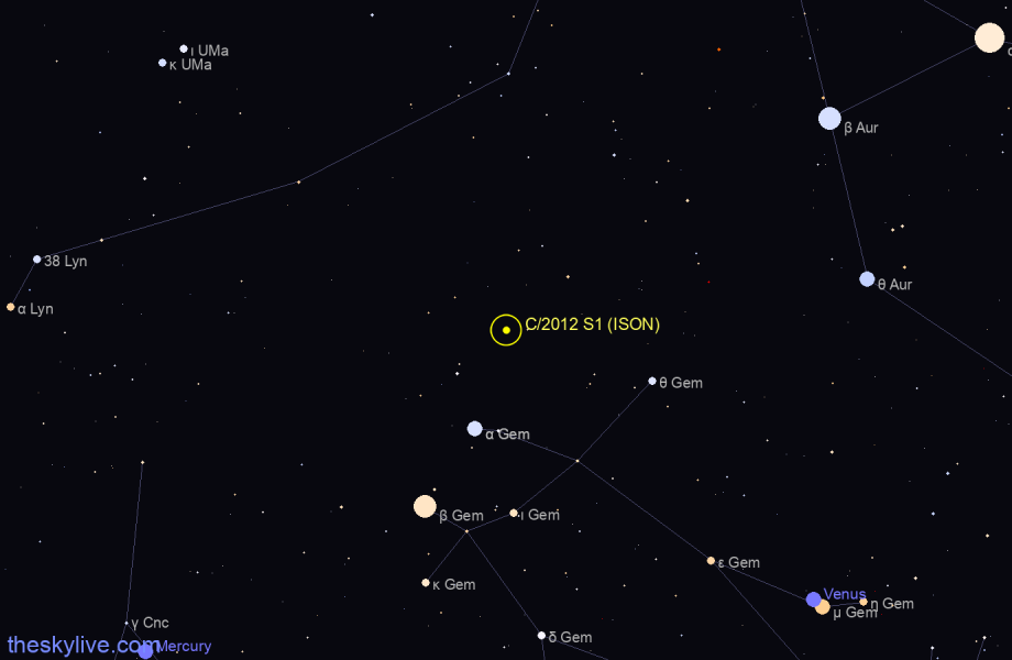 C/2012 S1 (ISON) in Auriga on March,24 2019
