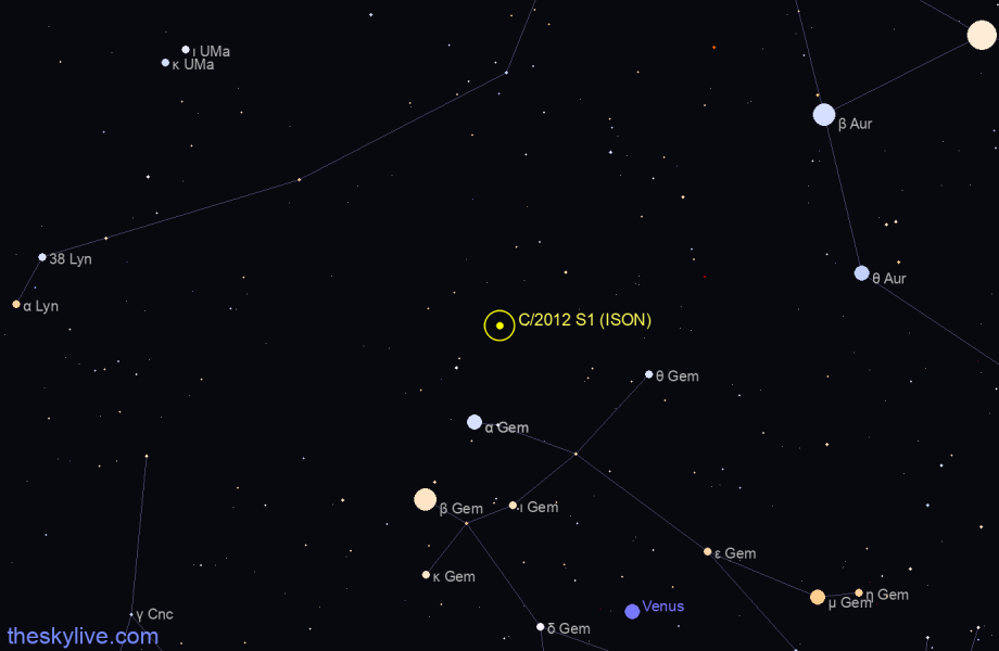 Map of C/2012 S1 (ISON) in Lynx on November,22 2019