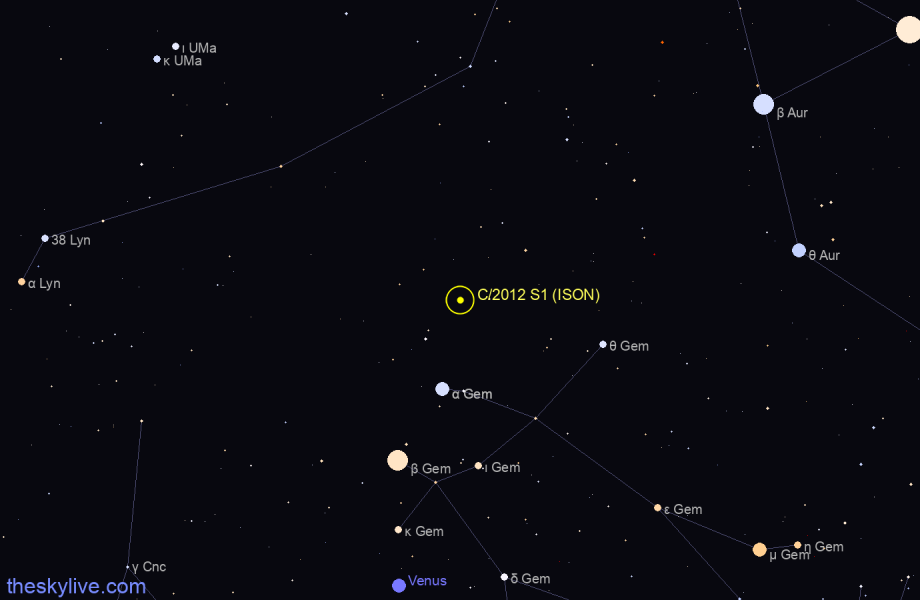 Map of C/2012 S1 (ISON) in Auriga on March,29 2020