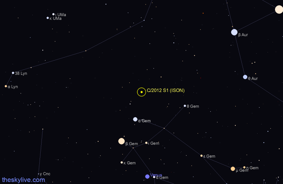 Finder chart of C/2012 S1 (ISON) in Lynx on August,14 2020