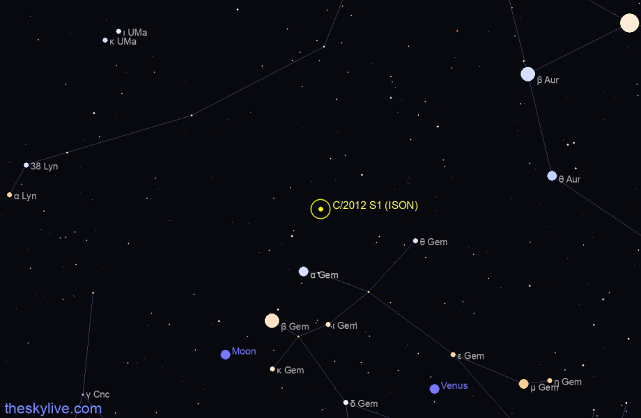 Finder chart of C/2012 S1 (ISON) in Lynx on October,24 2020