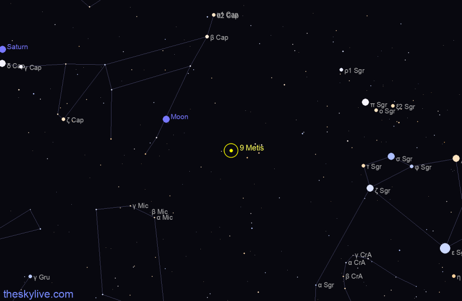 Map of 9 Metis in Cetus on September,15 2019