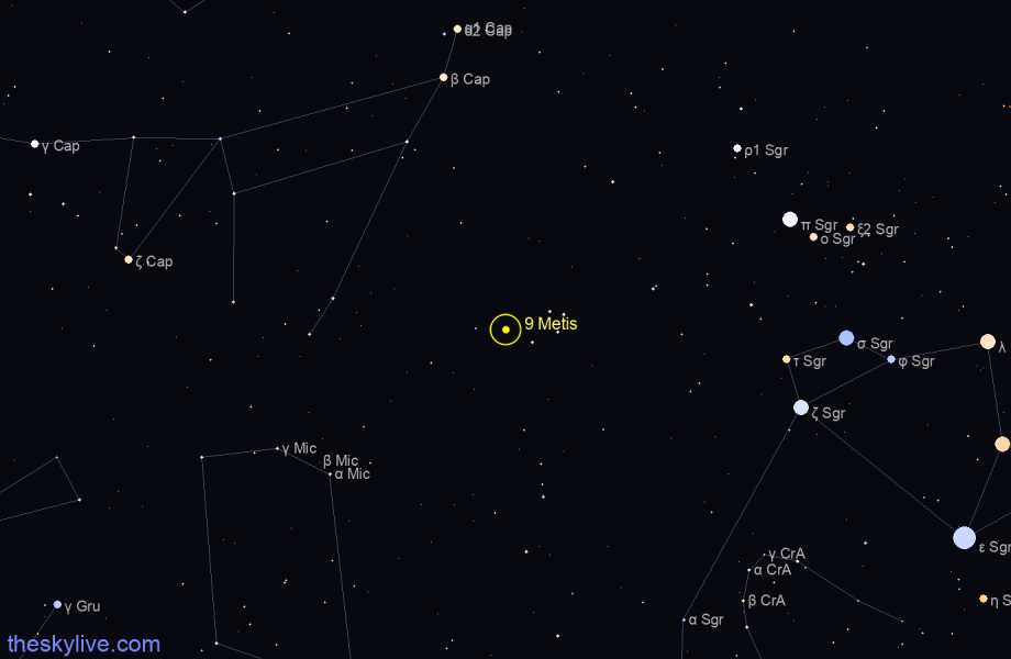 Finder chart of 9 Metis in Virgo on January,23 2021