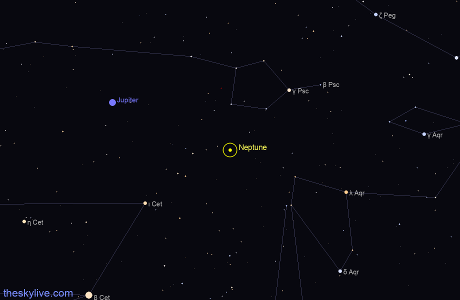 Map of Neptune in Aquarius on June,17 2019