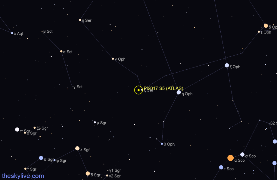 Map of P/2017 S5 (ATLAS) in Hydra on August,22 2019