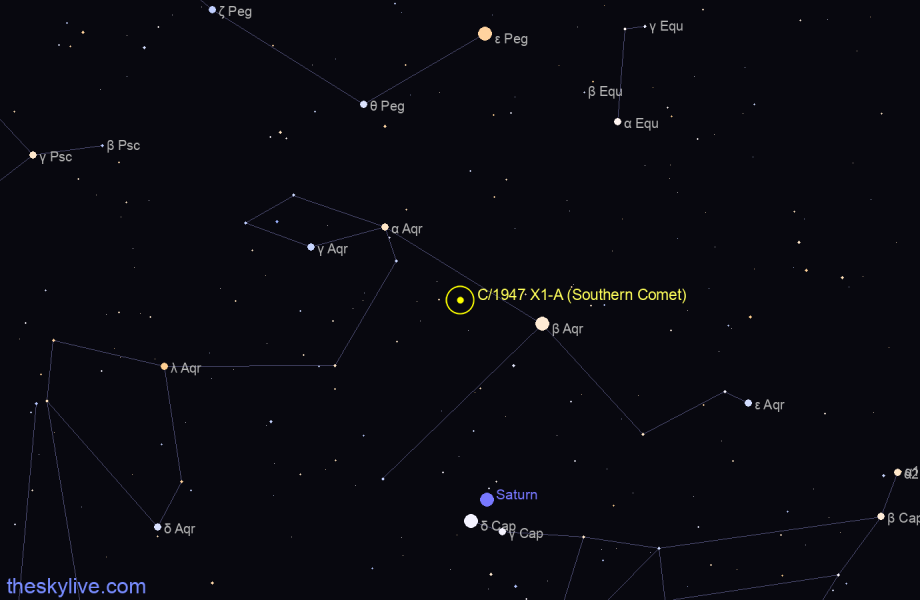 Finder chart of C/1947 X1-A (Southern Comet) in Aquarius on August,11 2020