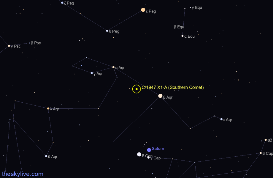 Finder chart of C/1947 X1-A (Southern Comet) in Aquarius on October,28 2020