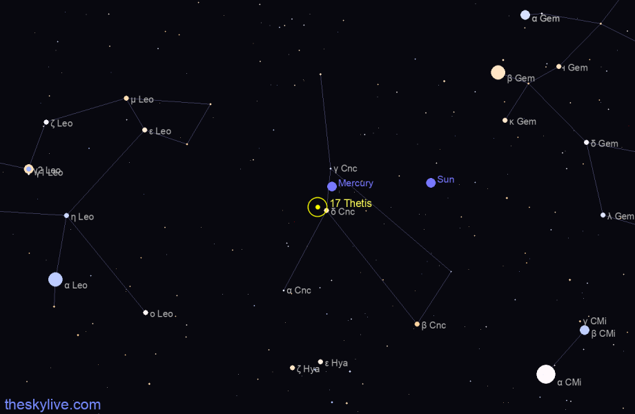 Finder chart of 17 Thetis in Aries on May,06 2021