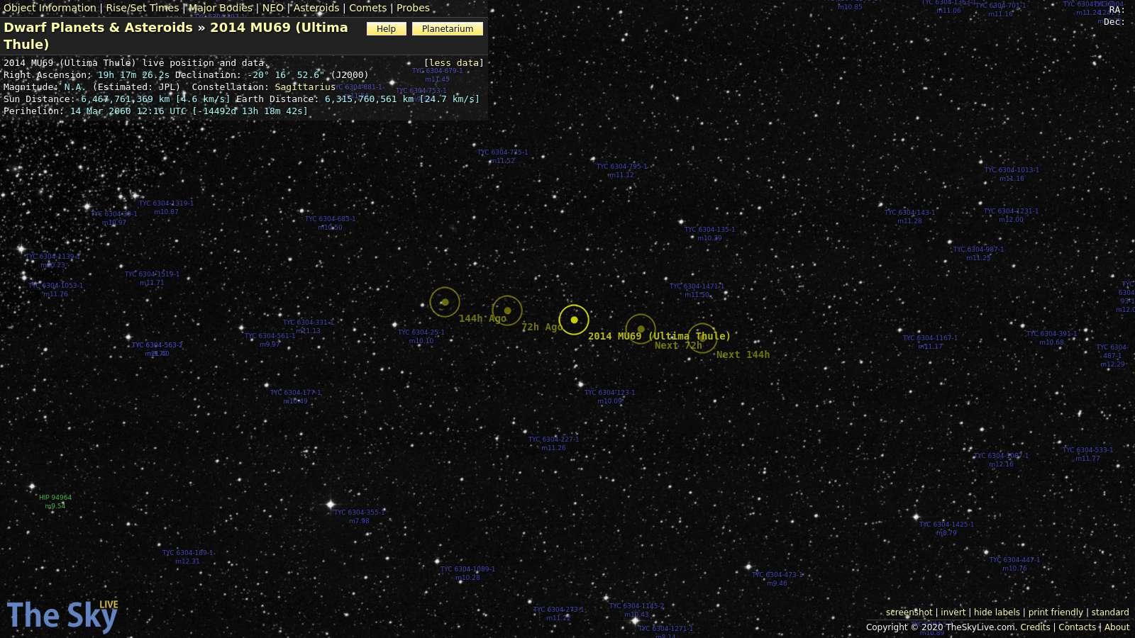KBO 2014 MU69 Ultima Thule Position And Data Live
