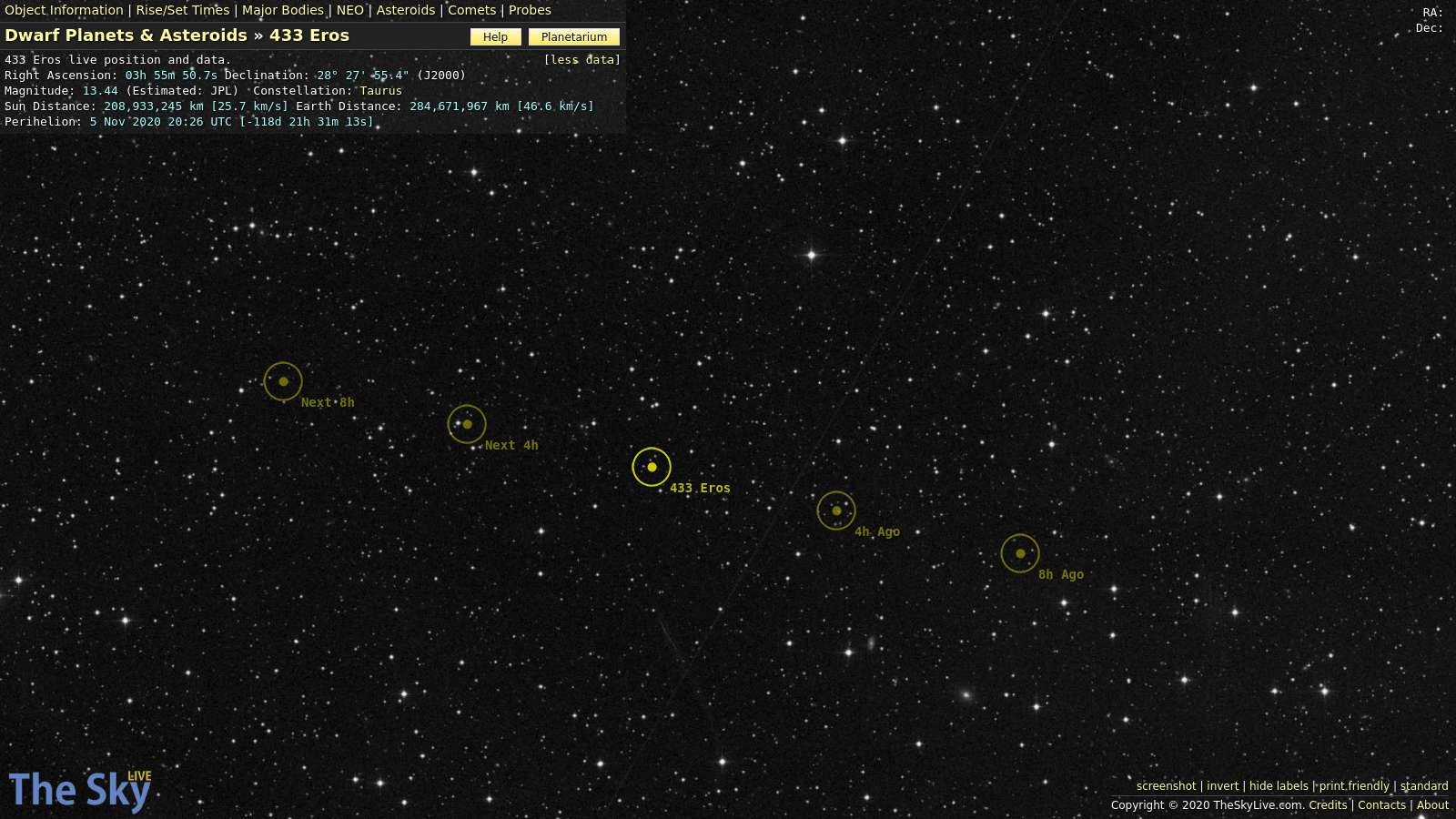 Asteroid eros distance from the sun