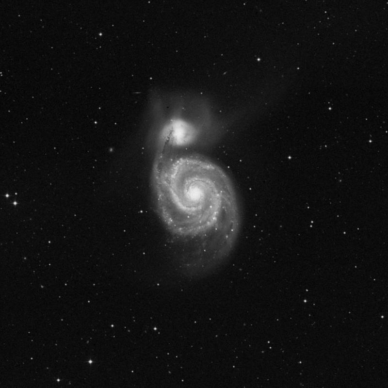 Image of Messier 51 (Whirlpool Galaxy) - Intermediate Spiral Galaxy in Canes Venatici star