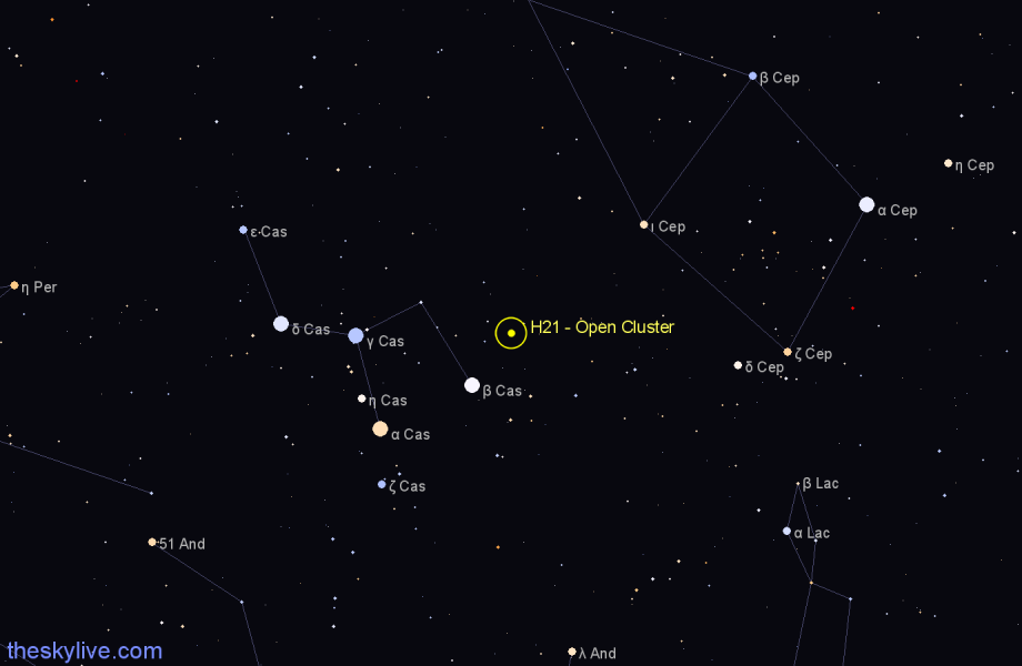 Finder chart H21 - Open Cluster in Cassiopeia star