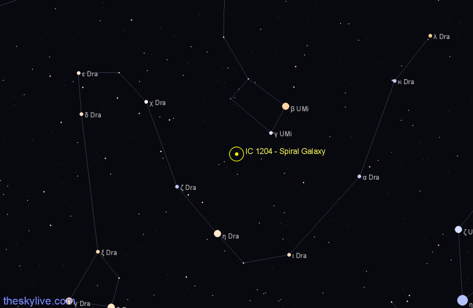 Finder chart IC 1204 - Spiral Galaxy in Ursa Minor star