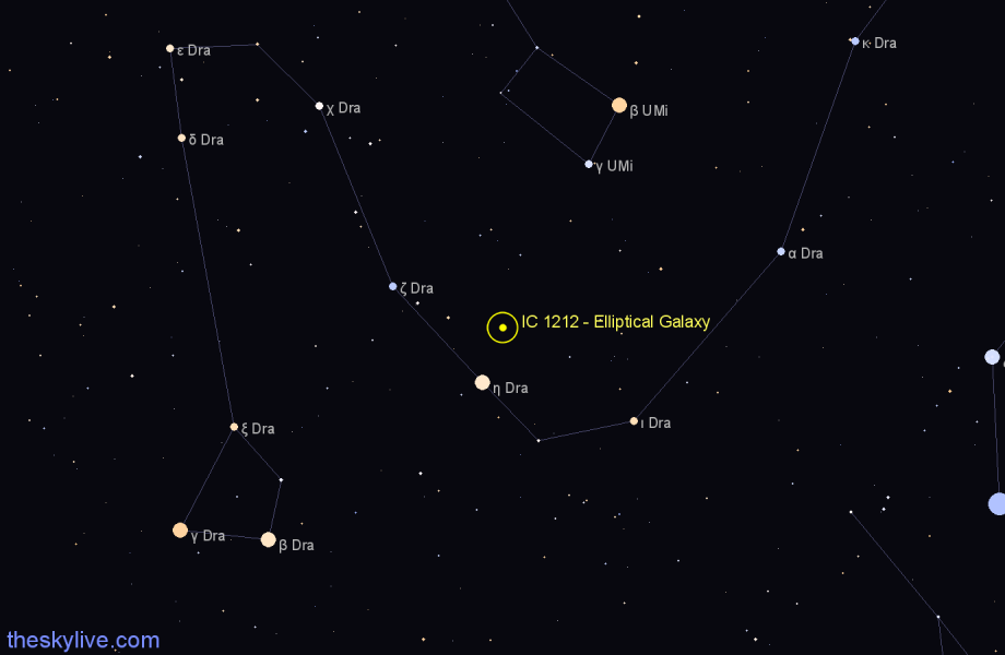 Finder chart IC 1212 - Elliptical Galaxy in Draco star
