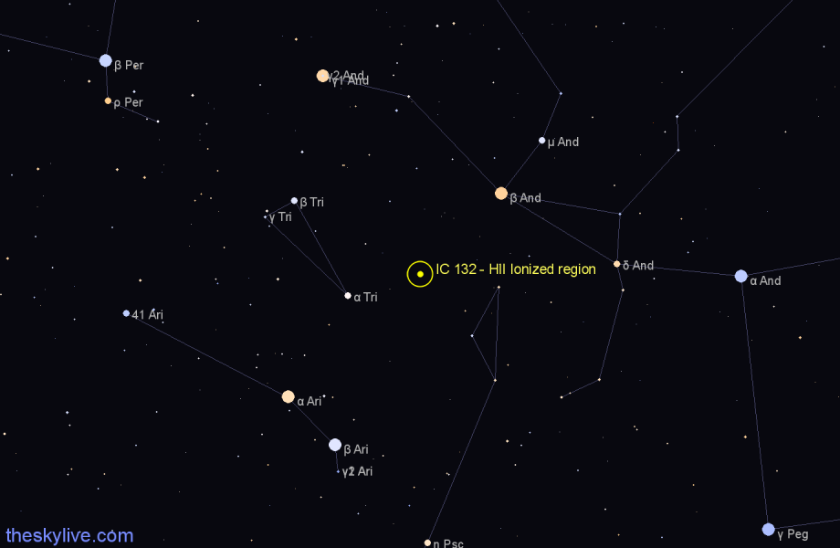 Finder chart IC 132 - HII Ionized region in Triangulum star