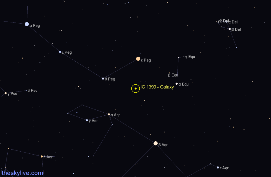 Finder chart IC 1399 - Galaxy in Pegasus star