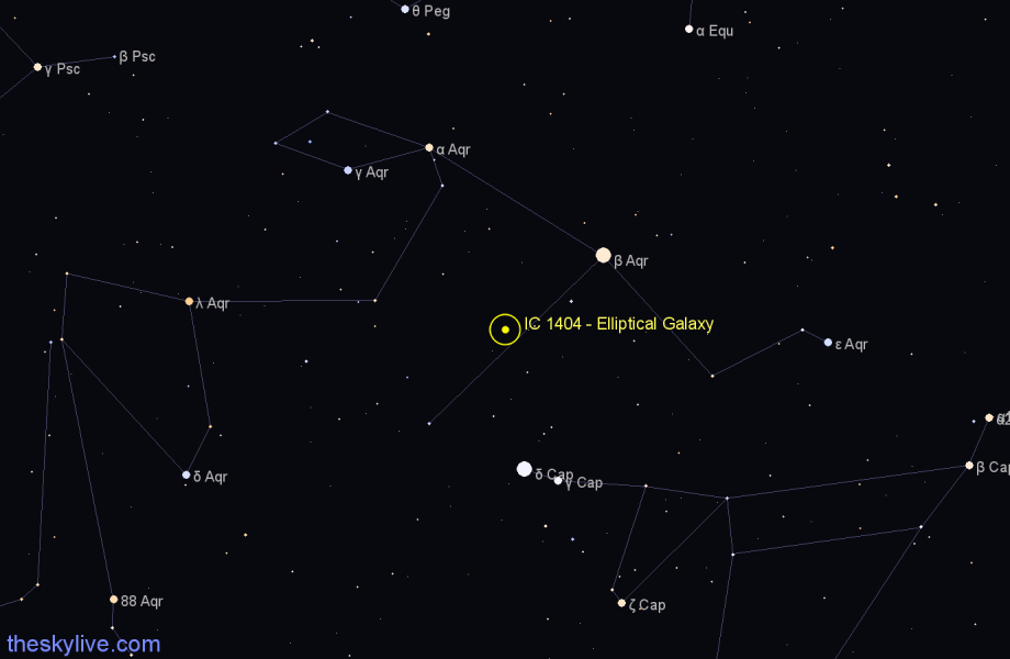 Finder chart IC 1404 - Elliptical Galaxy in Capricornus star