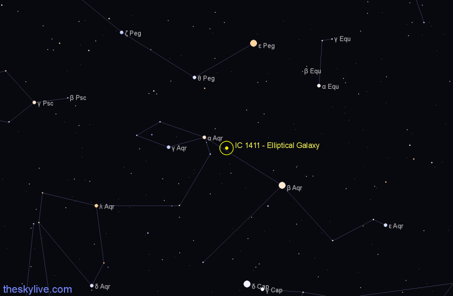 Finder chart IC 1411 - Elliptical Galaxy in Aquarius star