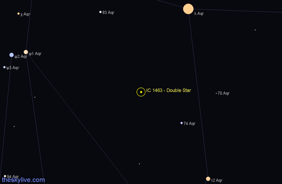 Finder chart IC 1463 - Double Star in Aquarius star