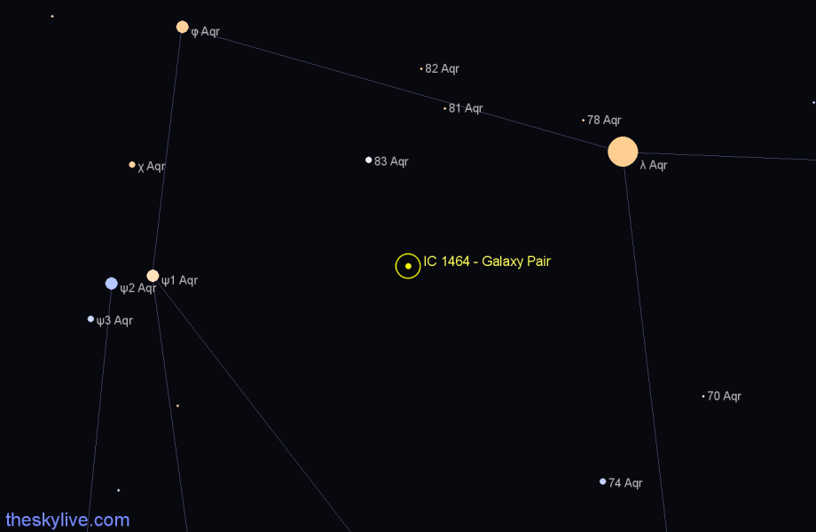 Finder chart IC 1464 - Galaxy Pair in Aquarius star
