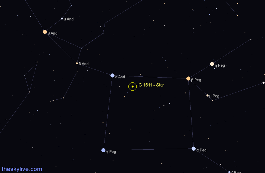 Finder chart IC 1511 - Star in Pegasus star