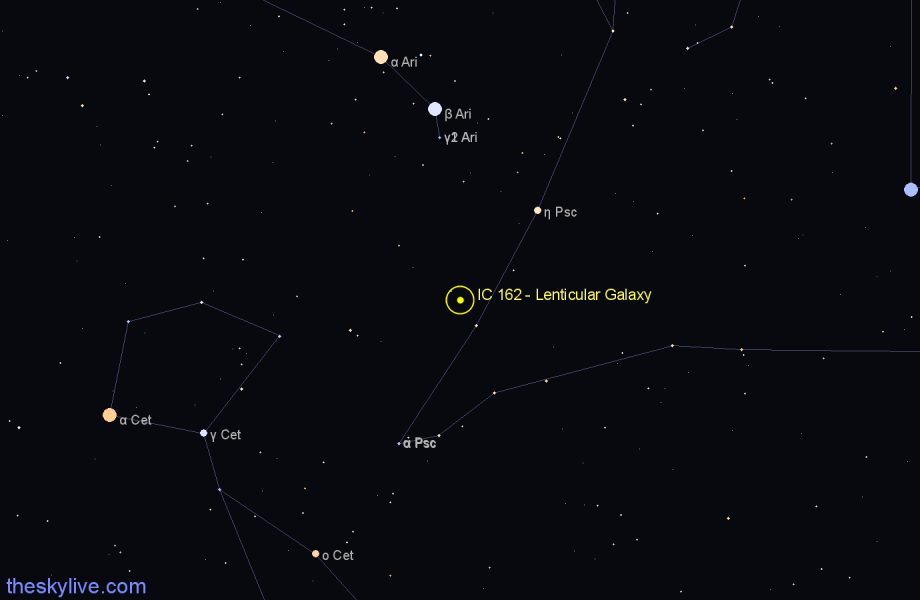 Finder chart IC 162 - Lenticular Galaxy in Aries star