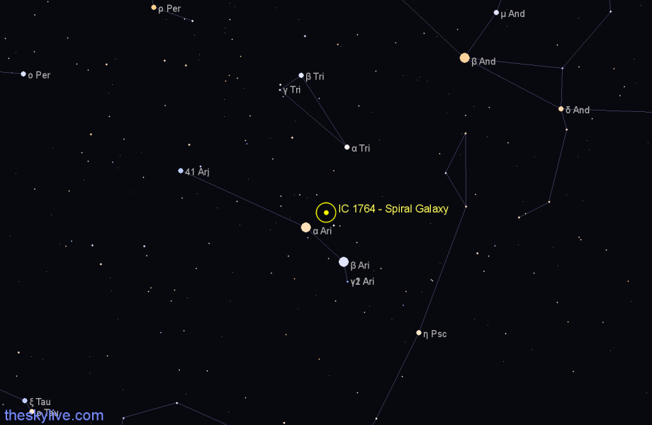 Finder chart IC 1764 - Spiral Galaxy in Aries star