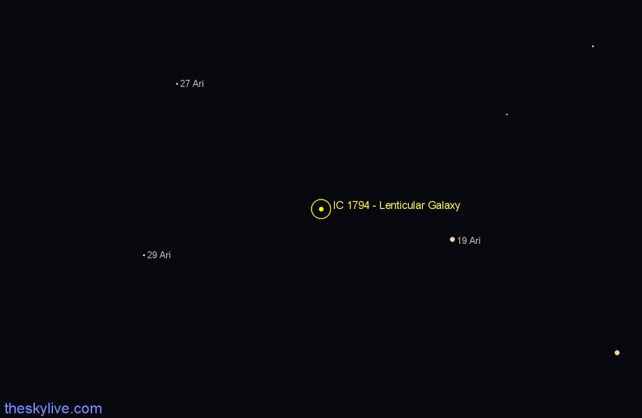 Finder chart IC 1794 - Lenticular Galaxy in Aries star